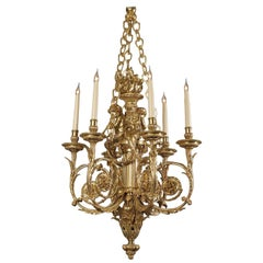 Louis XVI Style Cherub Six-Light Chandelier after Pierre Gouthière, circa 1870