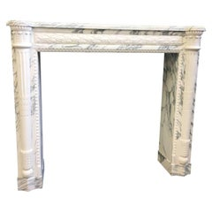 Louis XVI Style Chimneypiece in Fine Breche and Statuary Marbles