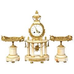 Louis XVI Stil Uhr Garnitur, vergoldete Bronze Marmor, 19tes Jahrhundert