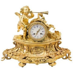 Louis XVI Style Clock in Chiseled and Gilt Bronze, Late 19th Century