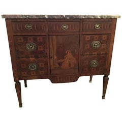 Louis XVI Style Commode, 18th Century with Marquetry Inlay and Marble Top