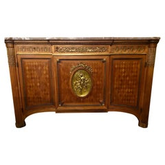Louis XVI Style Commode with Marquetry and Bronze Doré Mounts