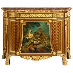Louis XVI Style Commode with Painted Panel by Henry Dasson, Dated 1879
