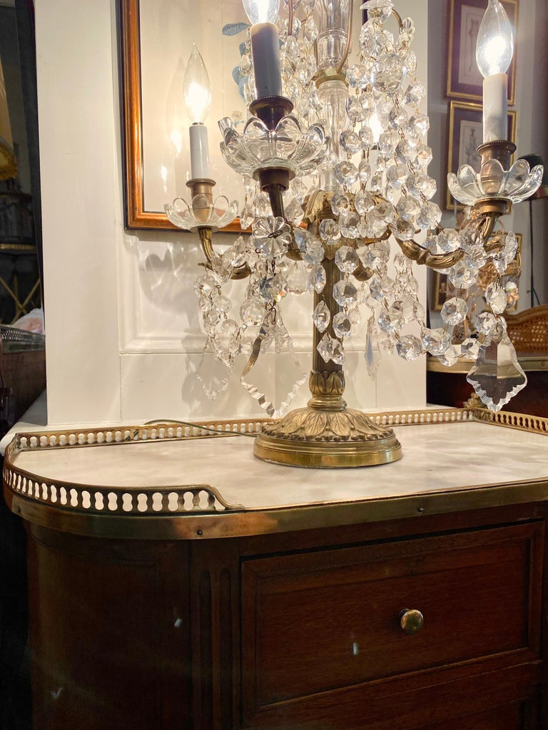 Louis XVI Style Demi-Lune Cabinet with Marble Top and Bronze Gallery For Sale 7