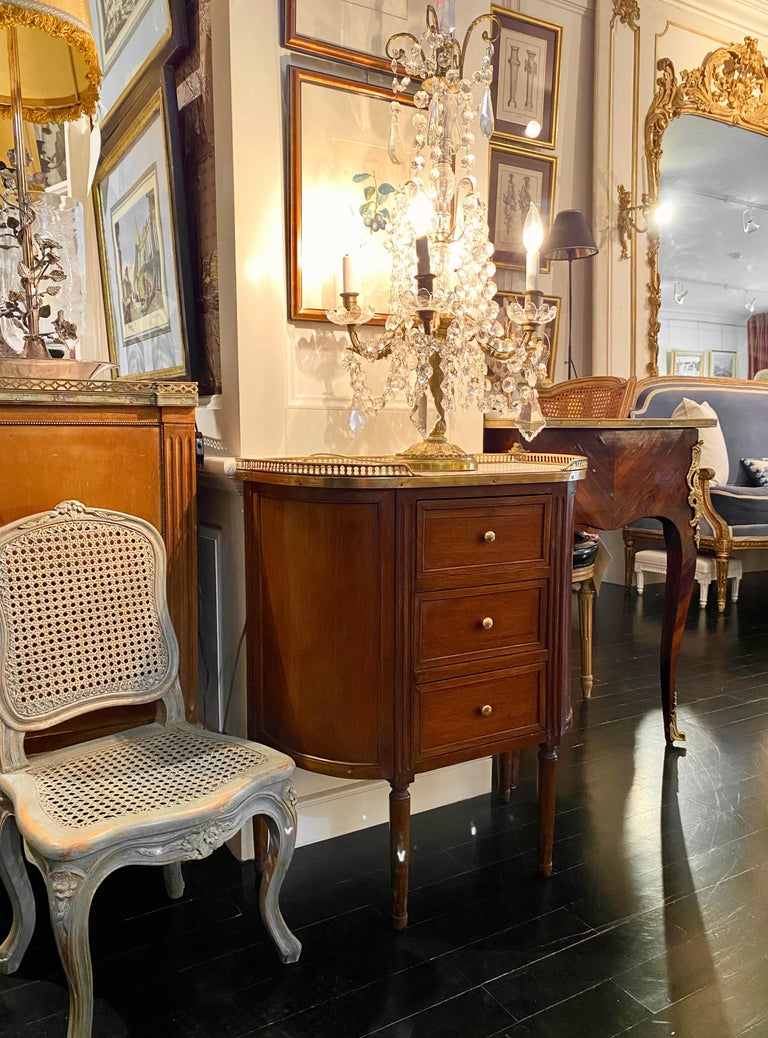 Louis XVI Style Demi-Lune Cabinet with Marble Top and Bronze Gallery For Sale 15