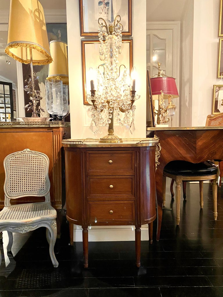 French Louis XVI Style Demi-Lune Cabinet with Marble Top and Bronze Gallery For Sale