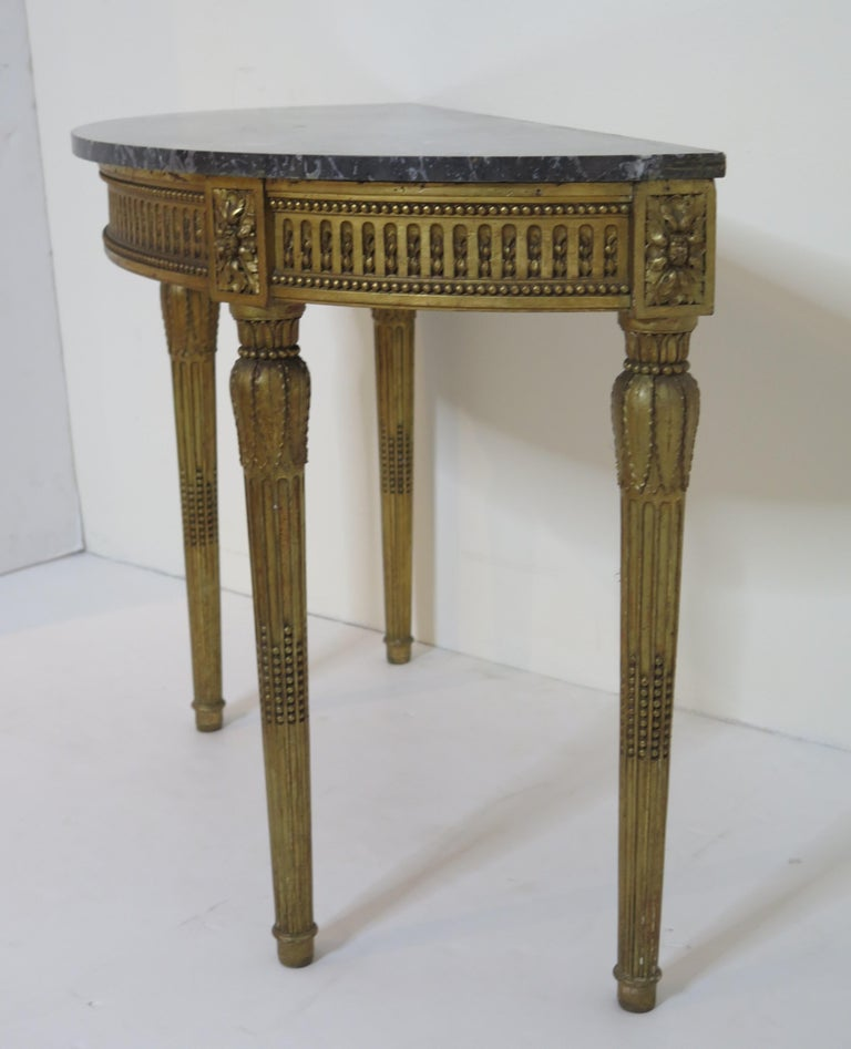 Carved Louis XVI Style Demilune Console Table For Sale
