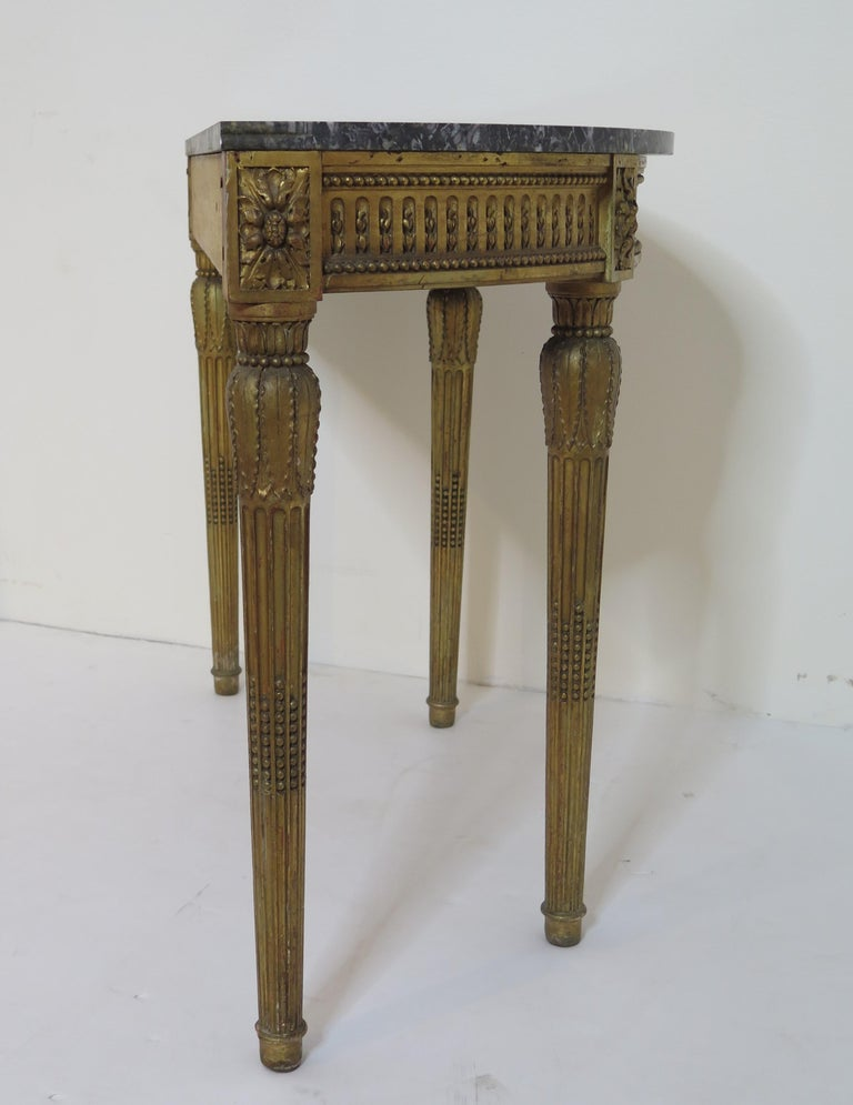 Marble Louis XVI Style Demilune Console Table For Sale