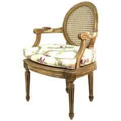 Louis XVI Style Diminutive Armchair with Caned Seat and Back