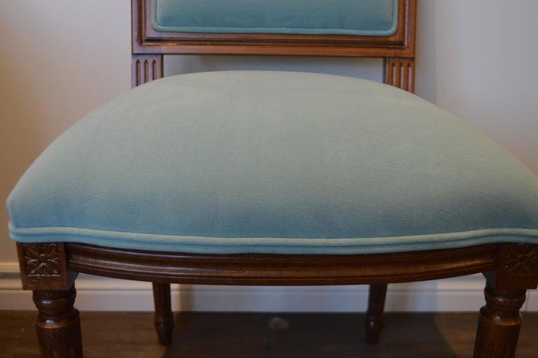 Italian Louis XVI Style Dining Chair, Square Back, Kravet Washable Velvet, Custom Order For Sale