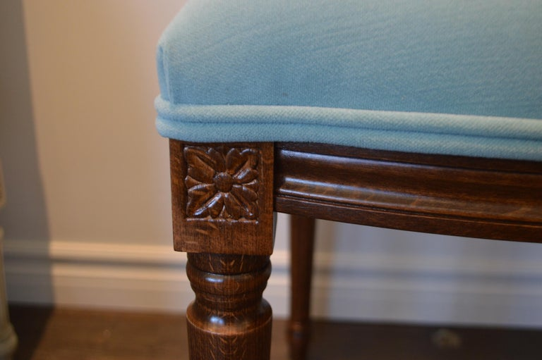 Louis XVI Style Dining Chair, Square Back, Kravet Washable Velvet, Custom Order In New Condition For Sale In Oakville, ON