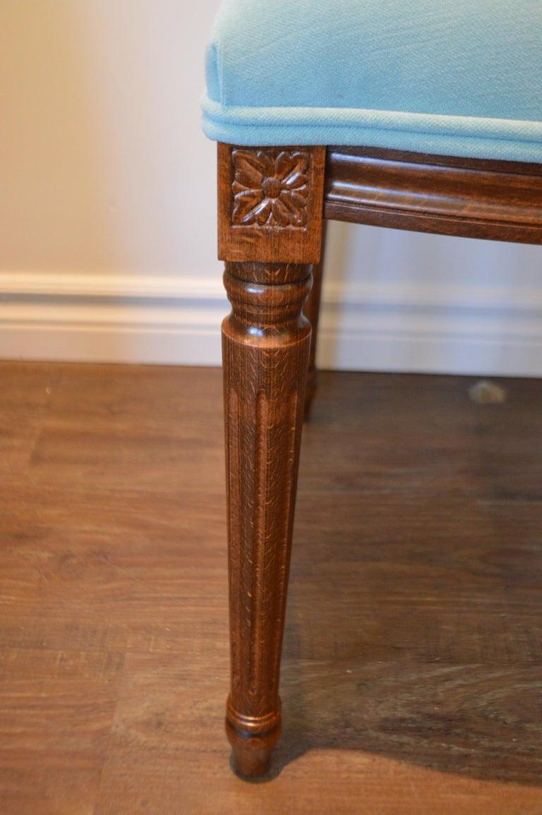 Contemporary Louis XVI Style Dining Chair, Square Back, Kravet Washable Velvet, Custom Order For Sale