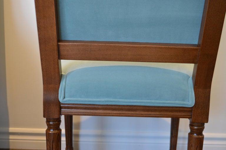 Louis XVI Style Dining Chair, Square Back, Kravet Washable Velvet, Custom Order For Sale 1
