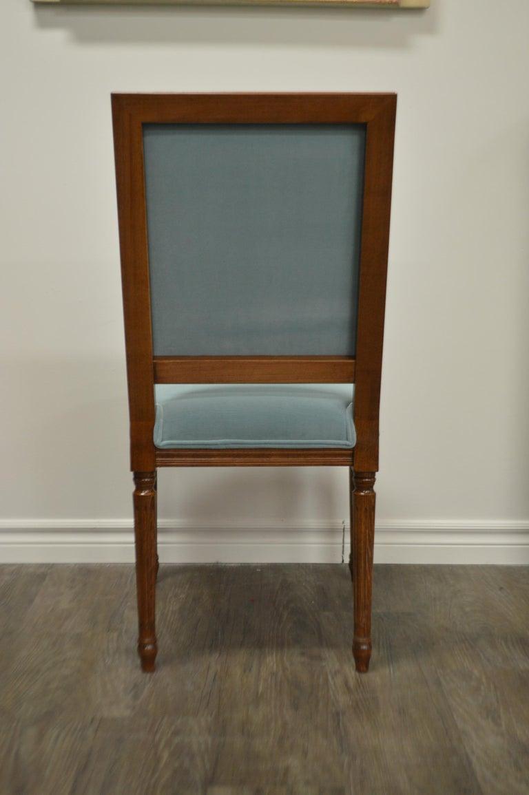 Louis XVI Style Dining Chair, Square Back, Kravet Washable Velvet, Custom Order For Sale 2