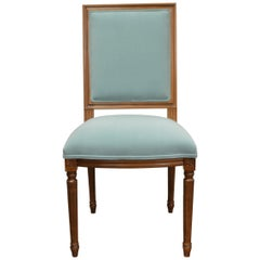 Louis XVI Style Dining Chair, Square Back, Kravet Washable Velvet, Custom Order