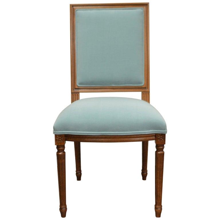 Louis XVI Style Dining Chair, Square Back, Kravet Washable Velvet, Custom Order For Sale