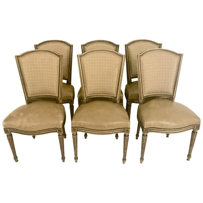 Louis XVI-Style Dining Chairs, Set of 6 For Sale