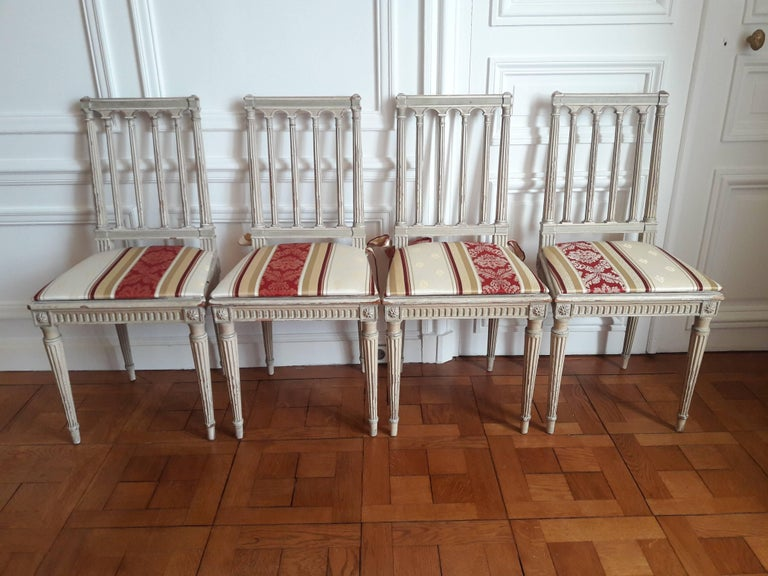 Louis XVI Style Dining Chairs, Set of Four For Sale 5