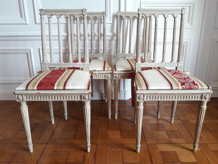 Wood Louis XVI Style Dining Chairs, Set of Four For Sale