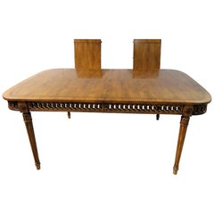 Carved Walnut French Louis XVI Style Dining Table w Pierce Carved Circular Skirt