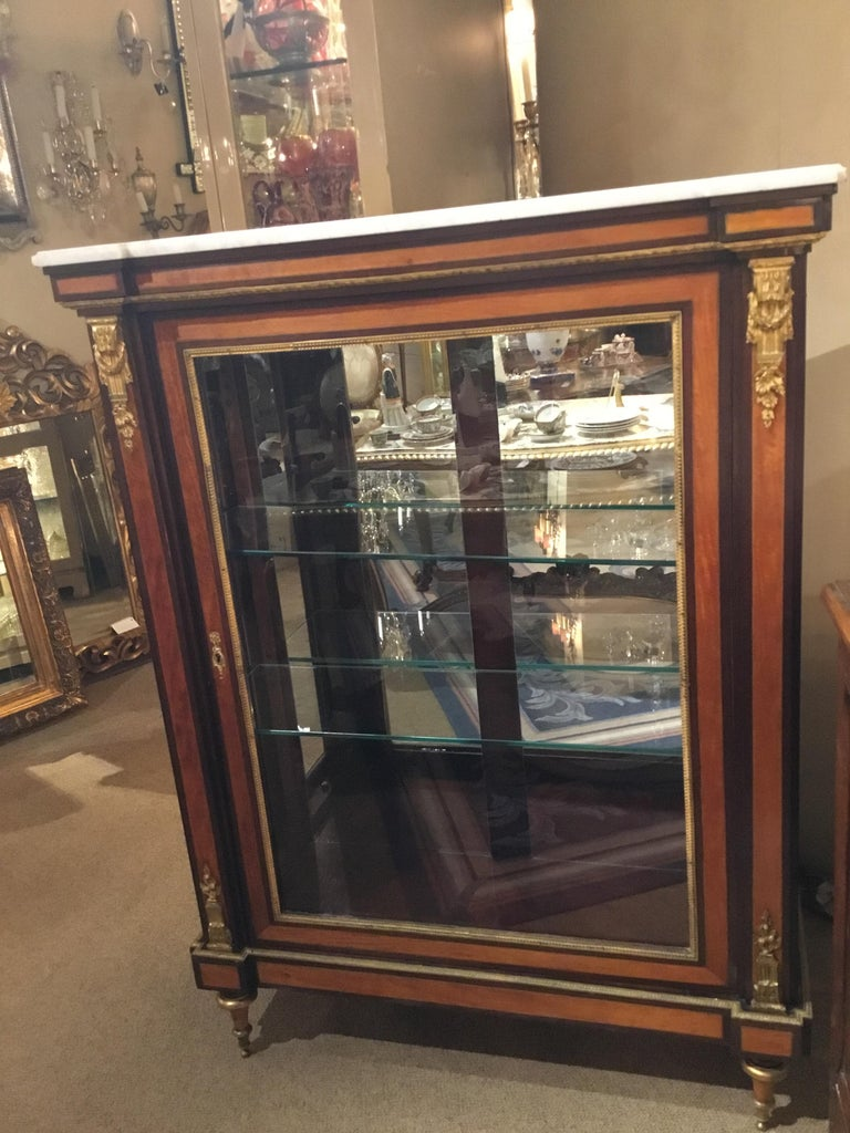 Louis XVI-Style Display/Vitrine Cabinet in Rosewood with Bronze Dore Mounts In Good Condition In Houston, TX