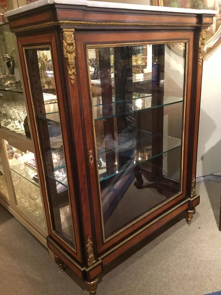 Louis XVI-Style Display/Vitrine Cabinet in Rosewood with Bronze Dore Mounts 2