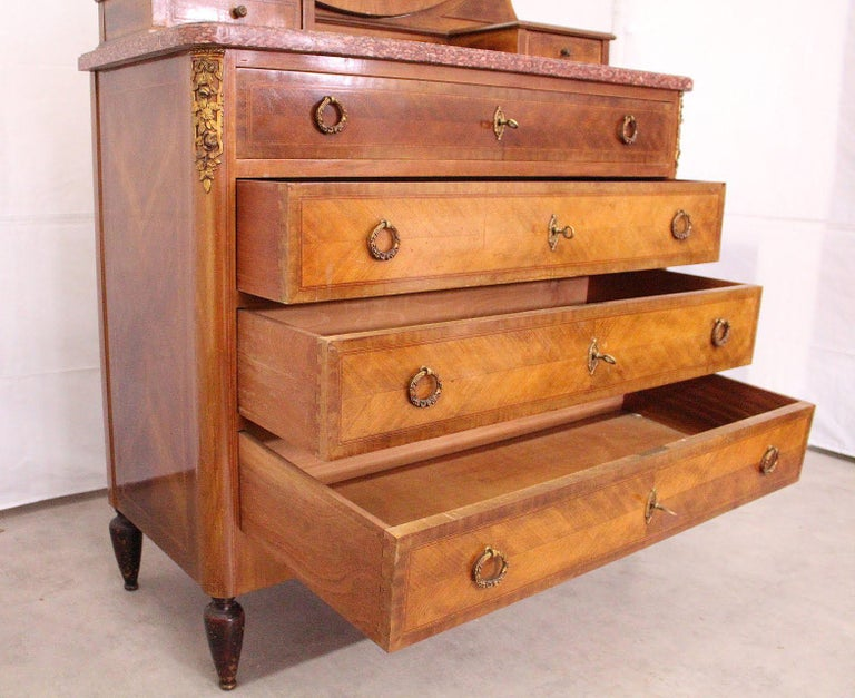 Wood Louis XVI Style Dressing Chest of Drawers French Marquetry For Sale