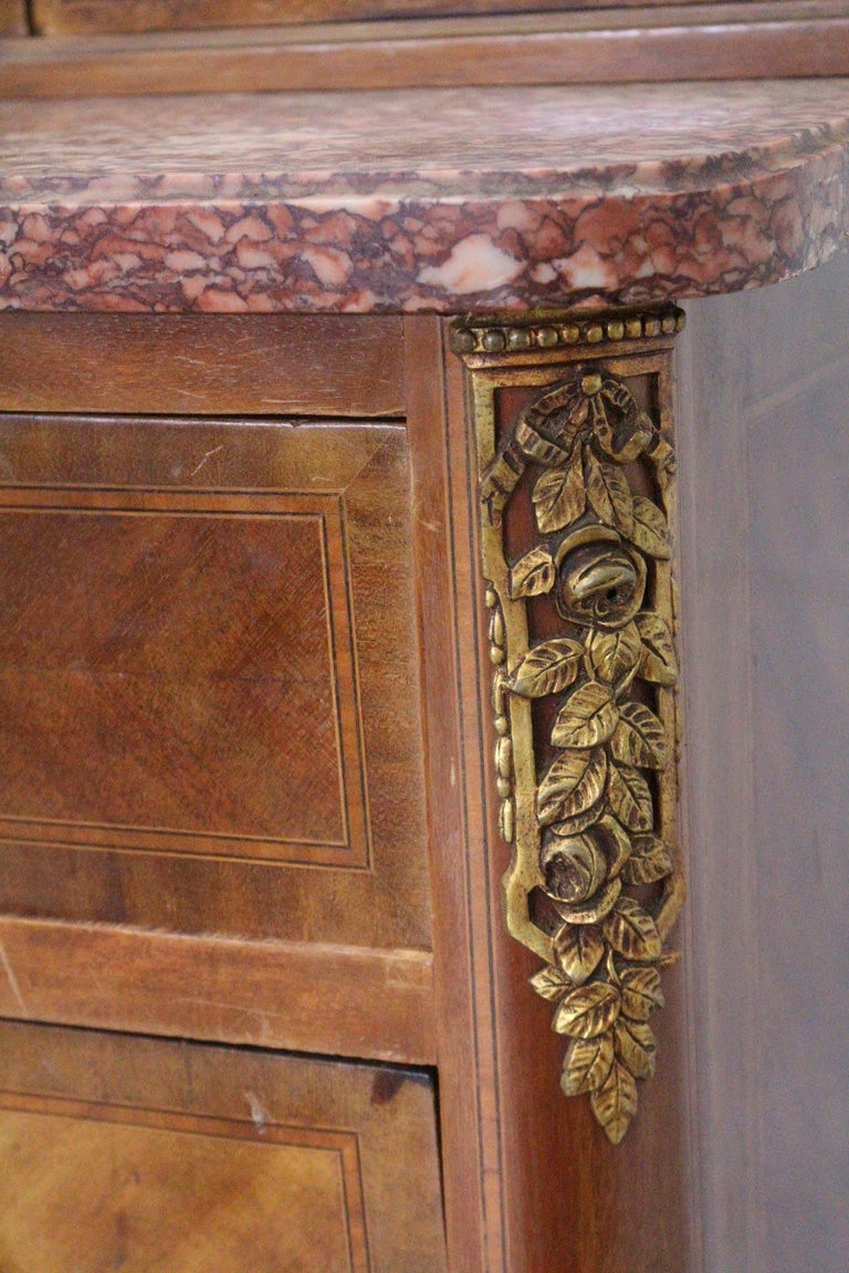 Louis XVI Style Dressing Chest of Drawers French Marquetry For Sale 1
