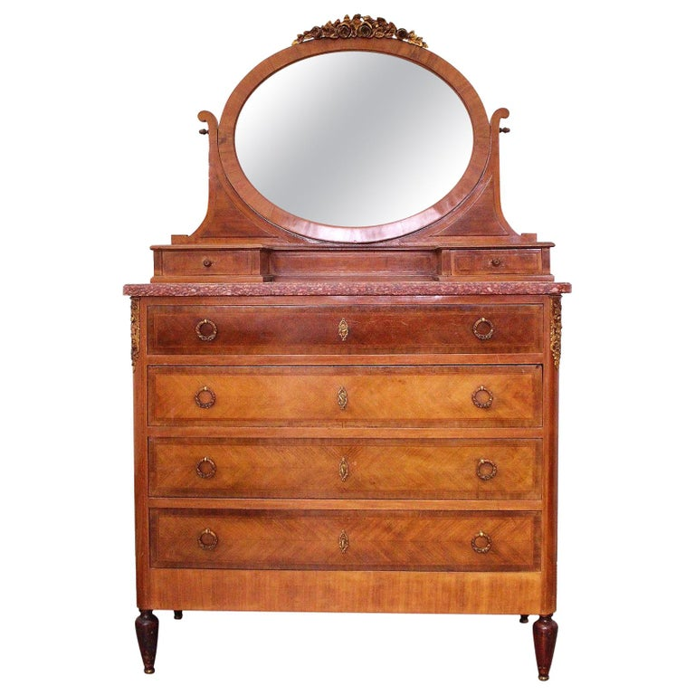 Louis XVI Style Dressing Chest of Drawers French Marquetry For Sale