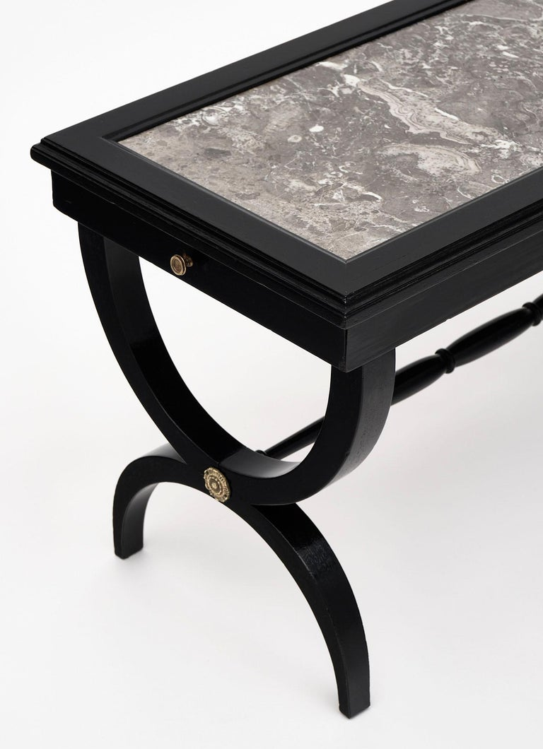 Louis XVI Style Ebonized Coffee Table In Good Condition For Sale In Austin, TX