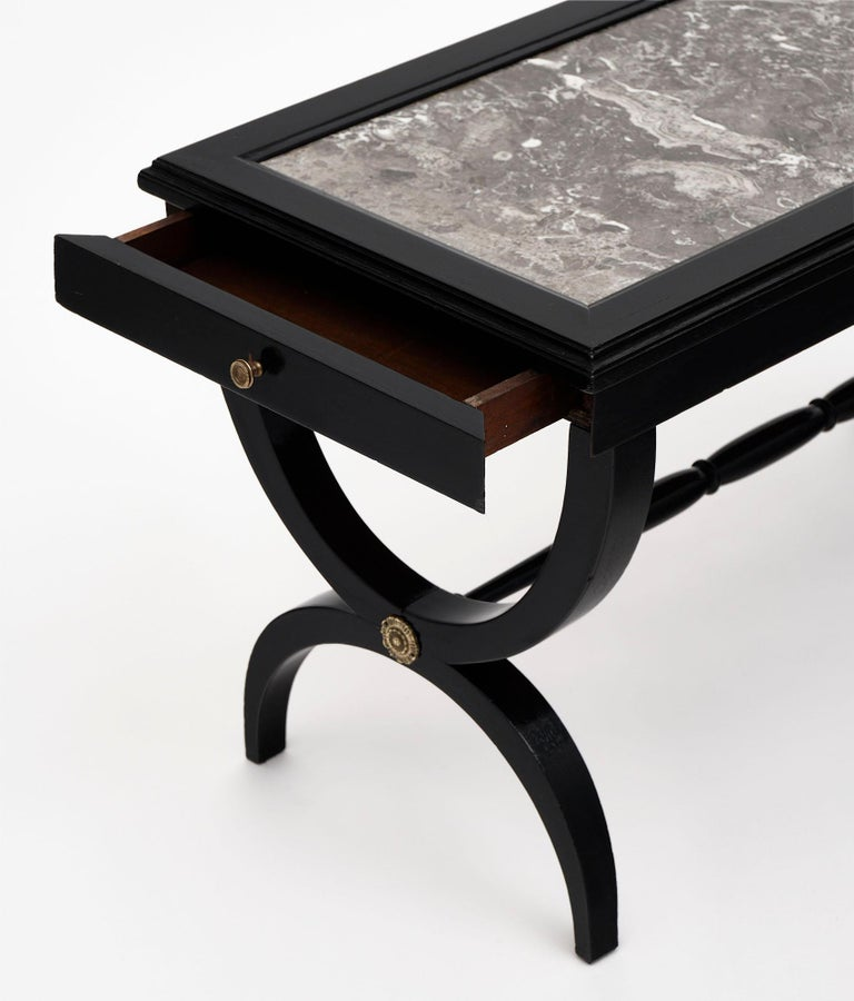 Louis XVI Style Ebonized Coffee Table For Sale 3