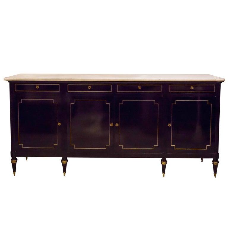 Louis XVI-Style Ebonized Marble-Top Sideboard