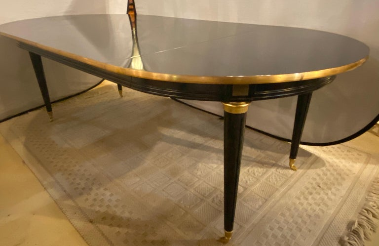 Louis XVI Style Ebony Center or Dining Table Manner of Maison Jansen, Refinished For Sale 8