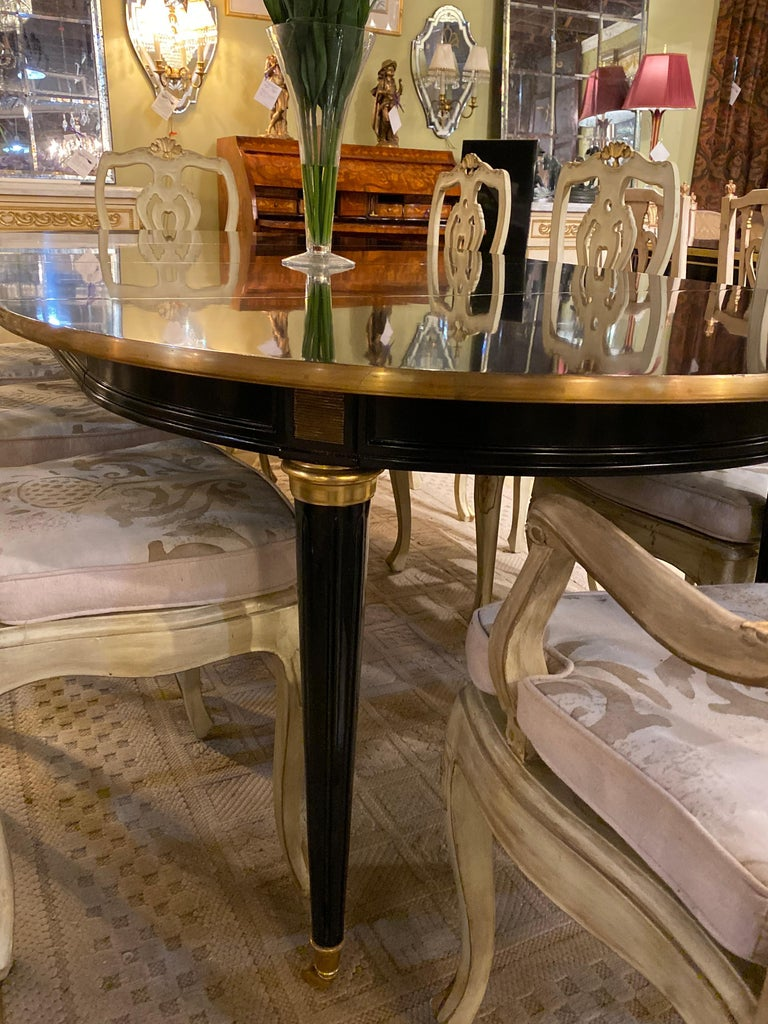 Louis XVI Style Ebony Center or Dining Table Manner of Maison Jansen, Refinished For Sale 11