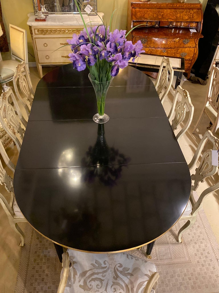 Louis XVI Style Ebony Center or Dining Table Manner of Maison Jansen, Refinished For Sale 13