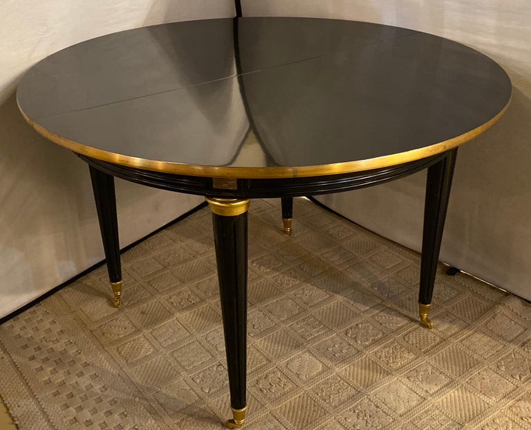 Louis XVI Style Ebony Center or Dining Table Manner of Maison Jansen, Refinished In Good Condition For Sale In Stamford, CT