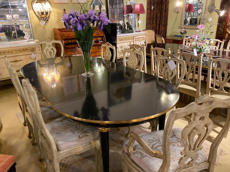 Louis XVI Style Ebony Center or Dining Table Manner of Maison Jansen, Refinished For Sale 1