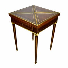 19 century French Louis XVI Style  Mahogany  and Brass Banded Envelope Table