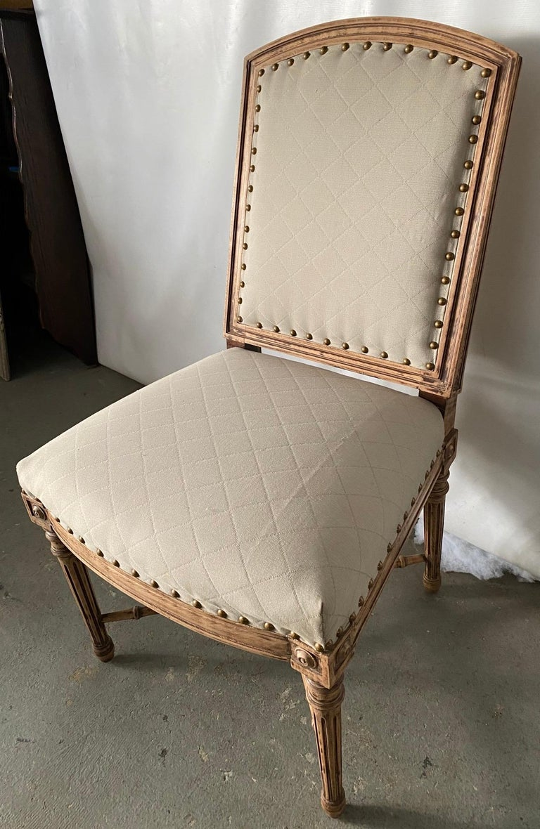 Louis XVI Style Fauteuil and Matching Side Chair For Sale 3