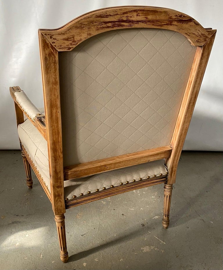 Carved Louis XVI Style Fauteuil and Matching Side Chair For Sale