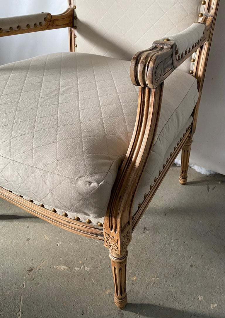 20th Century Louis XVI Style Fauteuil and Matching Side Chair For Sale