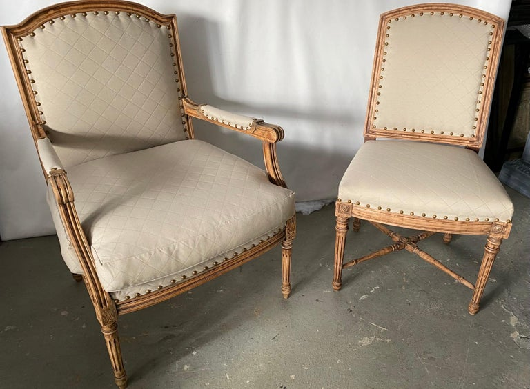 Louis XVI Style Fauteuil and Matching Side Chair For Sale 2