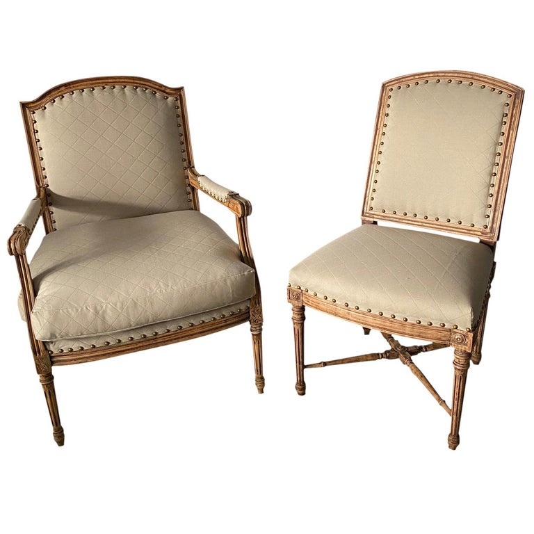 Louis XVI Style Fauteuil and Matching Side Chair For Sale