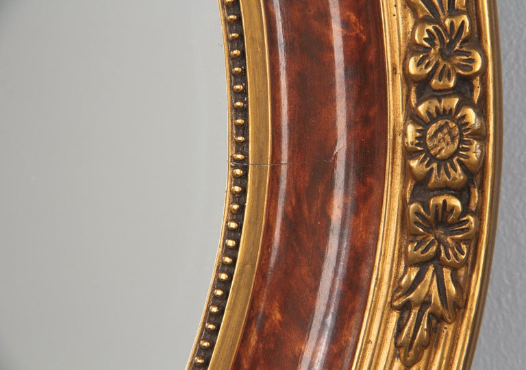 Louis XVI Style Faux Tortoise Oval Mirror, France, 1920s For Sale 5