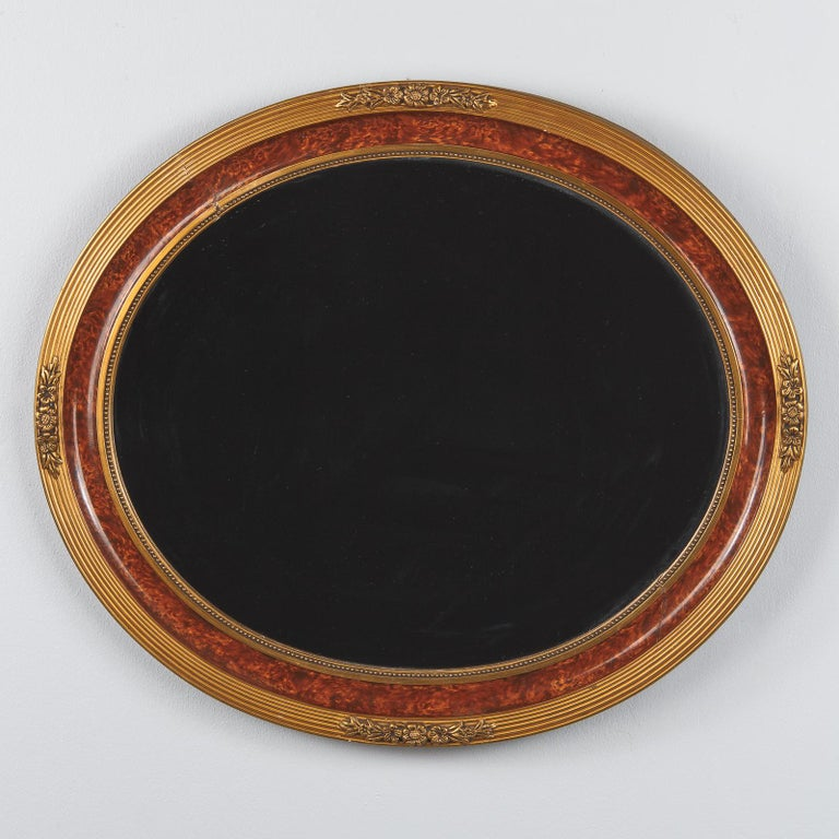 Louis XVI Style Faux Tortoise Oval Mirror, France, 1920s For Sale 8