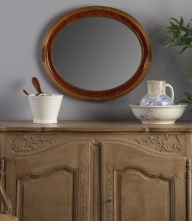 Louis XVI Style Faux Tortoise Oval Mirror, France, 1920s For Sale 9