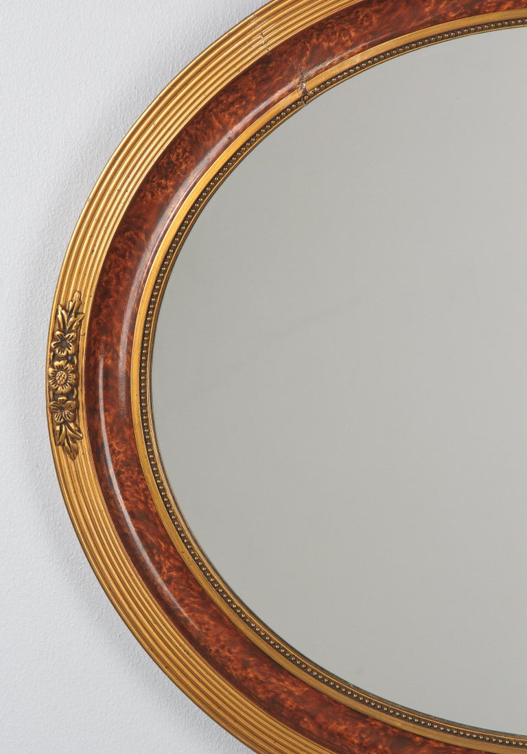 French Louis XVI Style Faux Tortoise Oval Mirror, France, 1920s For Sale