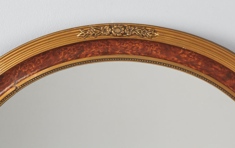 Louis XVI Style Faux Tortoise Oval Mirror, France, 1920s In Good Condition For Sale In Austin, TX