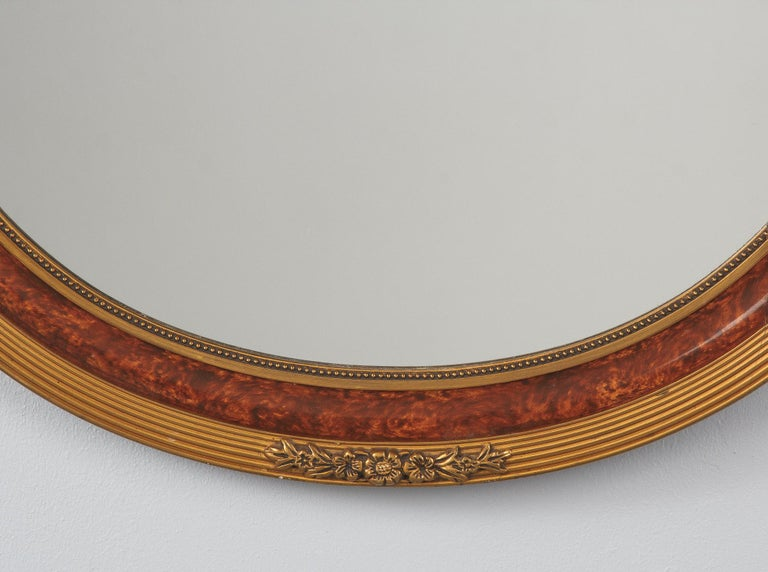 Louis XVI Style Faux Tortoise Oval Mirror, France, 1920s For Sale 1