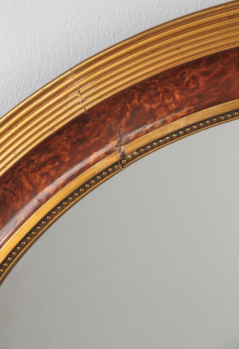 Louis XVI Style Faux Tortoise Oval Mirror, France, 1920s For Sale 3